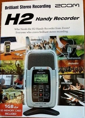 Zoom H2 Handy Recorder - In Original Box with Memory Card & Accessories