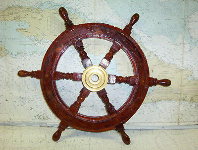 """Boaters' Resale Shop of TX 1.81 DECORATIVE 18"""" WOODEN SHIP'S WHEEL"""