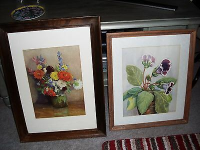 TWO LARGE ANTIQUE Oak Picture Frames With Old Original Flower Print ...