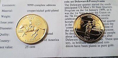 Gold Plated American State Quarter Coins  sc 1 st  PicClick UK & 2 X Gold Plated State Quarters With Certificates . See Pictures ...