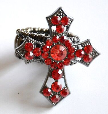 Red Cross Shape Ring / Antique Silver-tone Stretch Link Band / Red Crystal / NWT