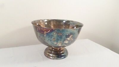 """Large Silver Plate Footed Punch Bowl 8"""" Tall 12"""" Wide Bowl"""