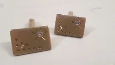 Mens Vintage Gold Tone Cuff Links with Dot and Clear Stone