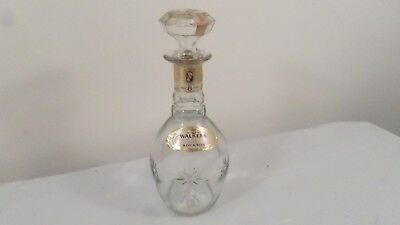 Vintage Walker's DeLuxe Bourbon Clear Glass Decanter with Stopper