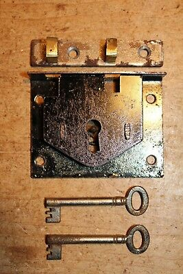 Vintage Iron Lock & Keys for Old Pine/Oak Blanket Box/Chest/Trunk/Coffer~