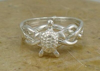 AWESOME .925 STERLING SILVER TURTLE PUZZLE RING size 7 style# r1953