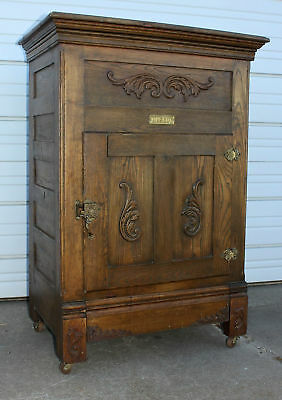 Antique MASCOT Carved 2 Door Oak Ice Box Chest Refrigerator Ornate Hardware Old