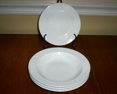 Villeroy & Boch Look (All White) - 3 Rimmed Soup Bowls + 2 Bread Plates