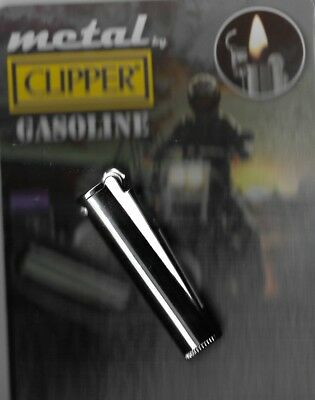 Clipper Metal Gasoline Lighter Refillable Shiny Silver With Metal Carrying Case