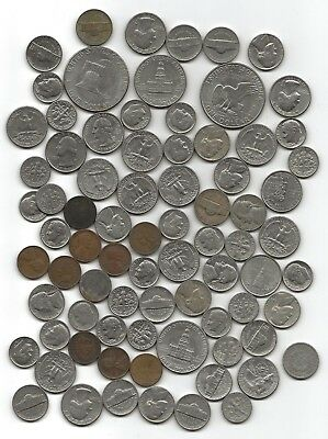 U S A DOLLAR, HALF, DIMES, QUARTERS.ect  MIXED COINS 660 GRAMS unpicked.