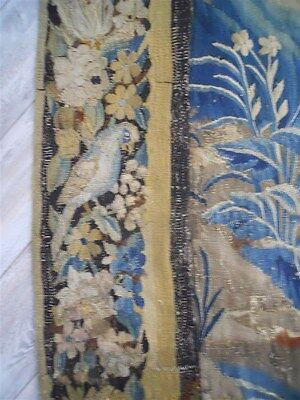 Aubusson French antique tapestry 17th-century verdure with 10 birds