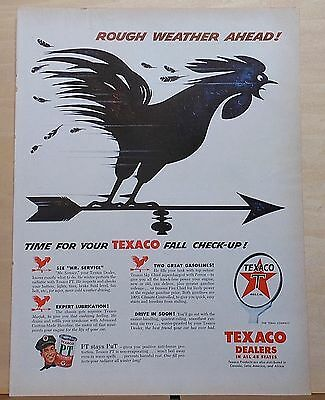 1956 magazine ad for Texaco - Rough Weather Ahead! weather vane, Fall Check-up