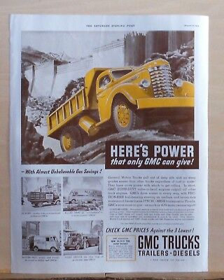 1939 magazine ad for GMC Trucks - Power only GMC can give, Yellow dump truck