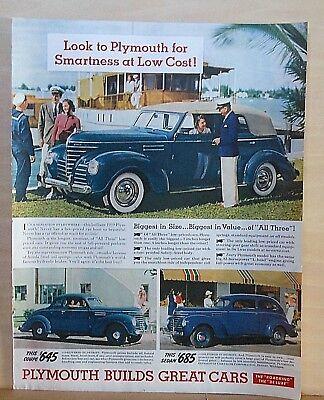 1939  magazine ad for Plymouth, Coupe, Sedan, Convertible, Biggest in Size Value