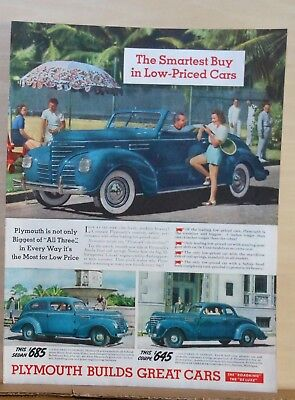 1939  magazine ad for Plymouth - Smartest Buy, Biggest of All Three, colorful