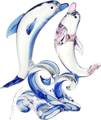 Glass Pink and Blue Dolphins
