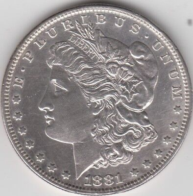 Coin 1881 USA Morgan silver dollar in uncirculated condition
