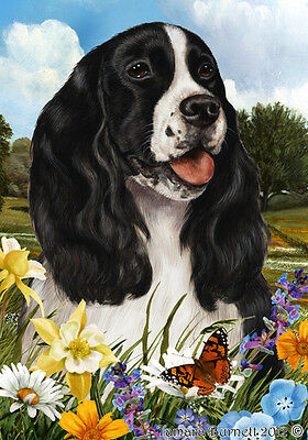 Large Indoor/Outdoor Summer Flag - Black & White English Springer Spaniel 18080