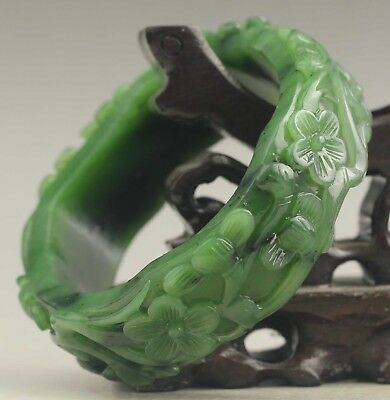China natural hetian green jade bangle hand carved flower Bracelet