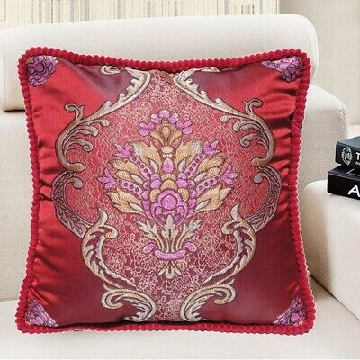 "Brocade Vintage European Jacquard Throw PILLOW CASE Sofa Cushion Cover 18x18"" US"