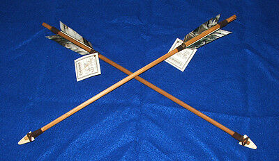 "Set of 2 Native American Arrows 18"" Black & White Feathers Bone Arrowheads 08"