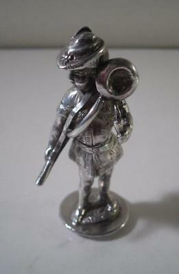 A Finely Cast Antique Figural Silver Seal of a Huntsman :  London 1895