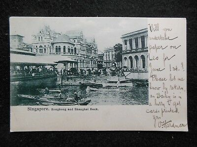 Vintage SINGAPORE Postcard (1908) HSBC, Straits Settlements, Bank - Edwardian