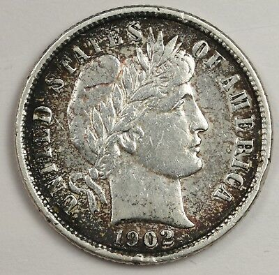 1902 Barber Dime.  Stunning Toning on Reverse.  122276