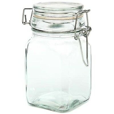 "Square Glass Jar w/ Locking Lid -4.75"" H x 2.5"" -Holds 7 FL oz ~Lot of 36 Jars"