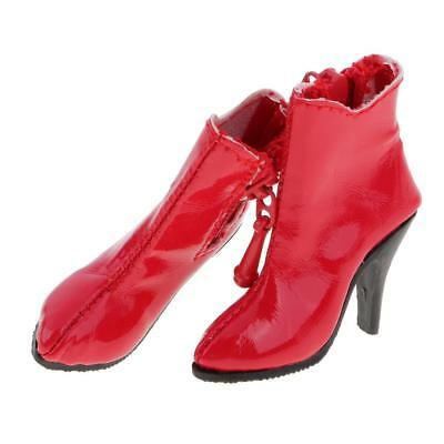 1:6 Red High Heel Ankle Boots for 12'' Hot Stuff Phicen Kumik Figure Shoes