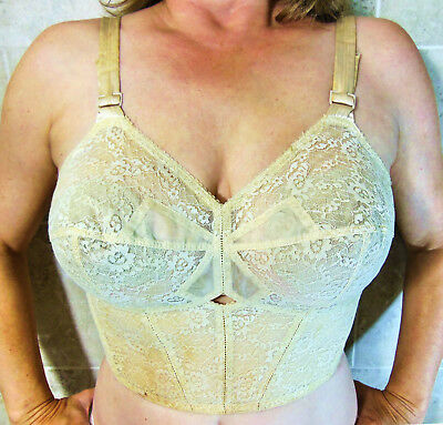 GREAT FIND!!! 1950s BALI FLOWER BOW BRA BEIGE LACY POINTY UNDERWIRE 34D EVC
