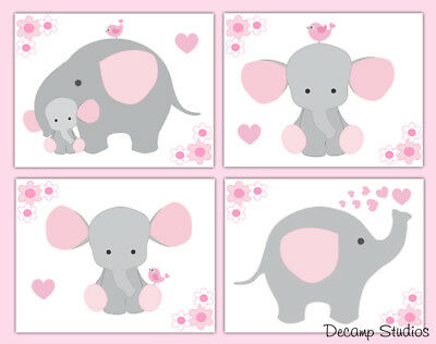 Elephant Nursery Prints Wall Art Pink Girl Jungle Safari Animals Kids Room Decor