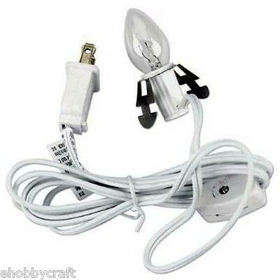 6402 Accessory Cord with Light Bulb, 6-Feet, White with on/off Switch -New!