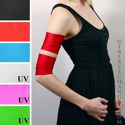 Short Red Shiny Roller Derby Arm Bands Cyber Costume Cuff Cosplay Athletic 1027
