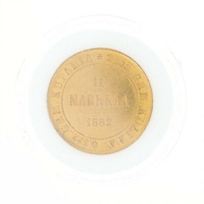 1882 Authentic 10 Markkaa Finnish Coin - 900 Gold Imperial Russia Finland