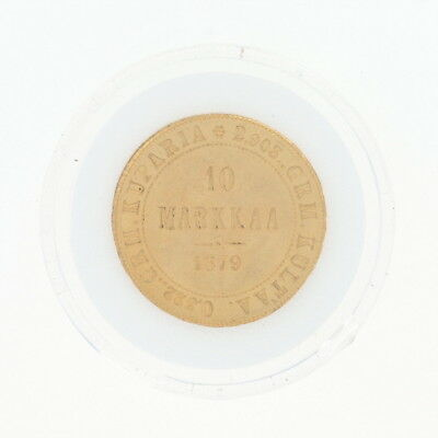 1879 Authentic 10 Markkaa Finnish Coin - 900 Gold Finland Imperial Russia
