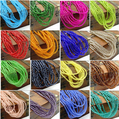 Wholesale hot 196pcs Crystal Glass Rondelle Faceted Loose Spacer Beads 2mm DIY