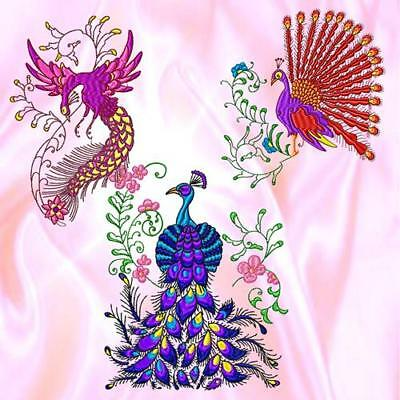 Elegant Peacocks 10  Machine Embroidery Designs Cd