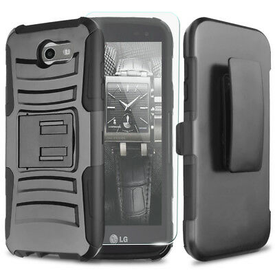 For Samsung Galaxy Halo Rugged Phone Case Cover Holster+Tempered Glass Screen