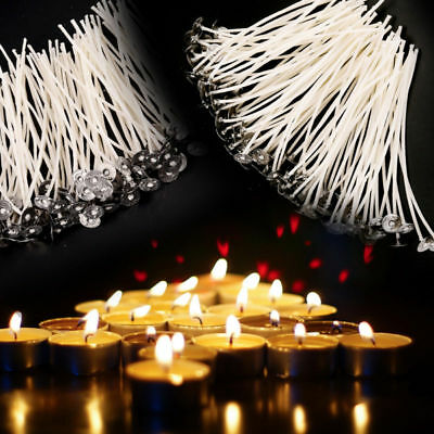 100PCS Candle Wicks Pre Waxed With Sustainers Cotton Coreless  9/10/15/20cm