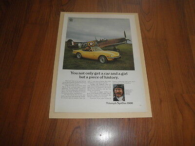 """TRIUMPH SPITFIRE AD -1973 """"GINGER LACEY""""Mint Print"""