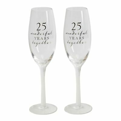 25th Pair of Champagne Glass Set Of 2 Silver Wedding Anniversary Gift WG66525