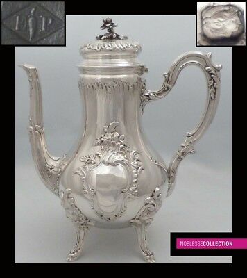 PUIFORCAT LARGE ANTIQUE 1880 FRENCH STERLING SILVER TEA/COFFEE POT 28.4oz 10.7in