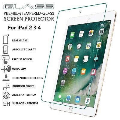 100% Genuine Tempered Glass Screen Protector Cover for Apple 9.7 iPad 2 3 4 UK