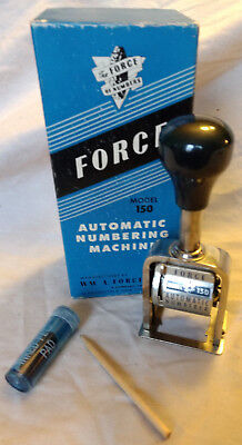 Force Automatic Numbering Machine Stamp Stamping Box 6 Wheels Model 150 VTG