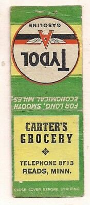 Carter's Grocery, Tydol Gasoline, Reads MN Matchcover 031618