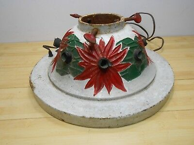 Vintage 1927 NOMA Cast Iron POINSETTIA Christmas Tree Stand Mica Snow Painted.