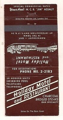 Holiday Motel and Restaurant Jct. Hwys 17 & 34, Hawkesbury ON Ontario Matchcover