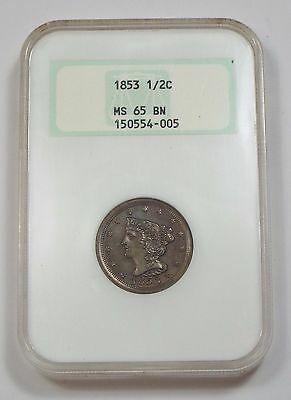 1853 Braided Hair Half Cent CERTIFIED NGC Old Fattie Holder MS 65 BROWN 1/2c