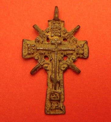 "Antique Russian Orthodox OLD BELIEVERS Cross RARE SUN Style Man's BIG 2"" ORIGINL"